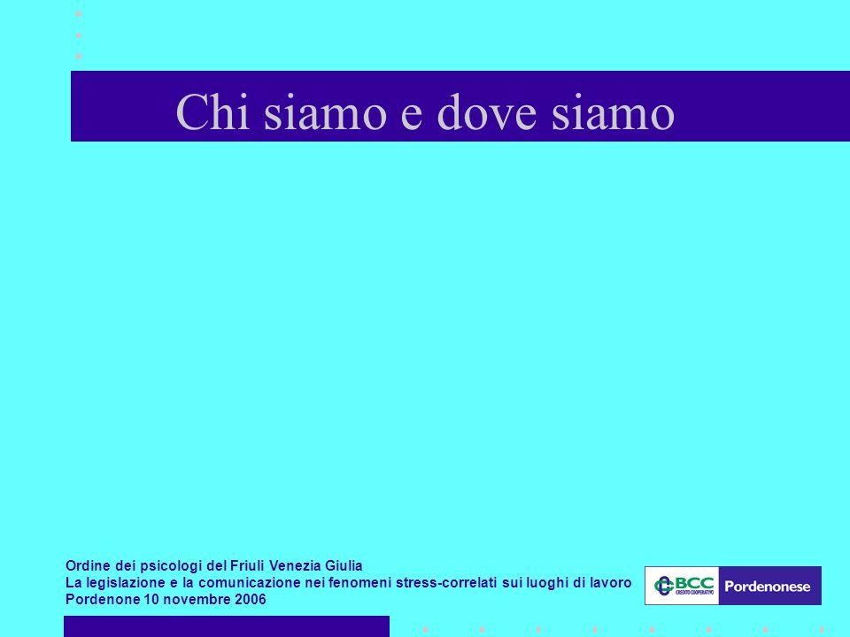 Ordine dei psicologi del Friuli Venezia Giulia La legislazione e la comunicazione nei fenomeni stress-correlati sui luoghi di lavoro Pordenone 10 novembre 2006 Chi siamo e dove siamo