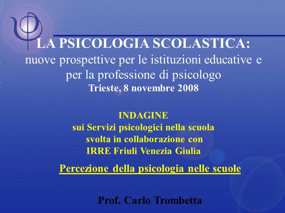LA PSICOLOGIA SCOLASTICA: nuove prospettive per le istituzioni educative e per la professione di psicologo Trieste, 8 novembre 2008 INDAGINE sui Servi
