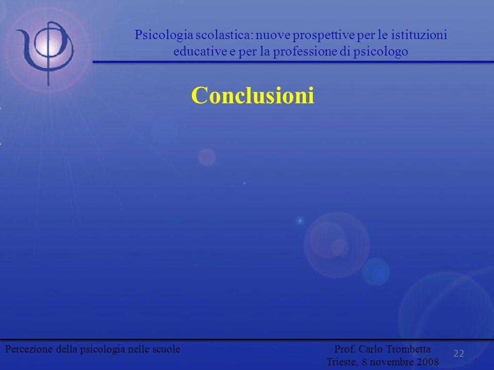 22 Conclusioni Psicologia scolastica: nuove prospettive per le istituzioni educative e per la professione di psicologo Percezione della psicologia nel