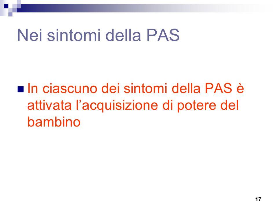 17 Nei sintomi della PAS In ciascuno dei sintomi della PAS è attivata lacquisizione di potere del bambino