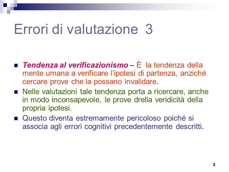 3 Errori di valutazione 3 Tendenza al verificazionismo – È la tendenza della mente umana a verificare lipotesi di partenza, anziché cercare prove che