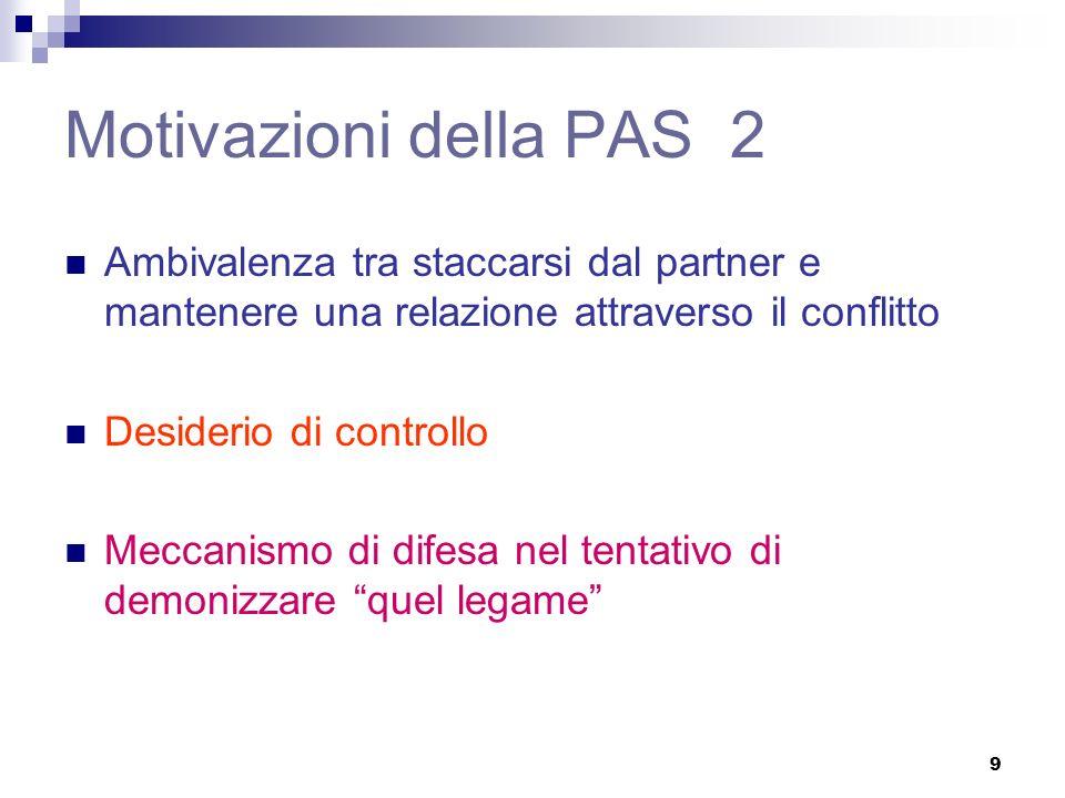 9 Motivazioni della PAS 2 Ambivalenza tra staccarsi dal partner e mantenere una relazione attraverso il conflitto Desiderio di controllo Meccanismo di