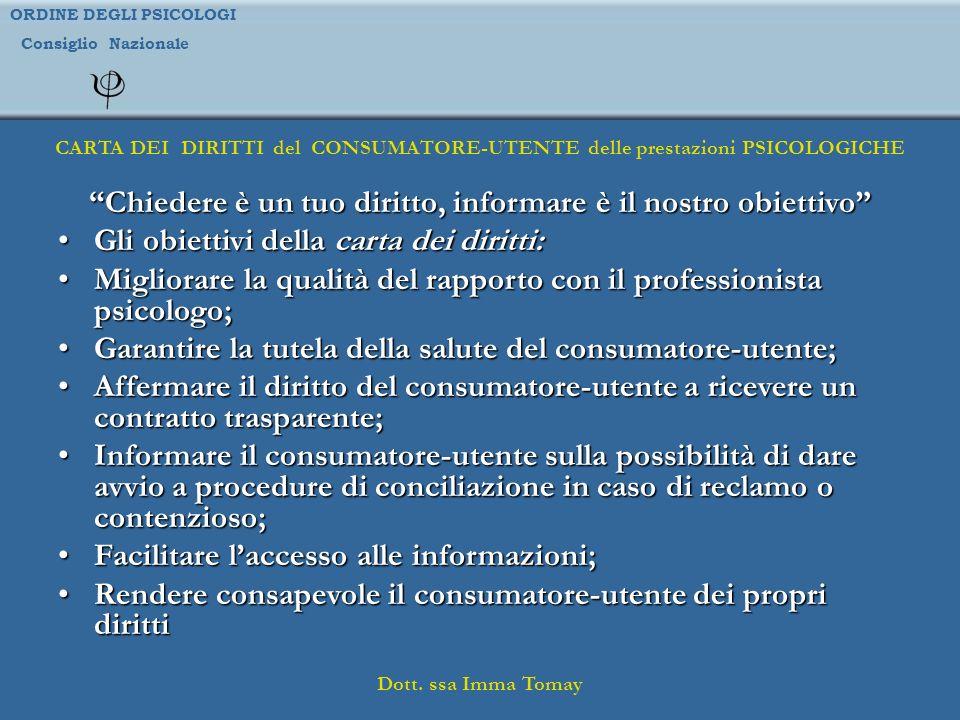ORDINE DEGLI PSICOLOGI Consiglio Nazionale Dott. ssa Imma Tomay CARTA DEI DIRITTI del CONSUMATORE-UTENTE delle prestazioni PSICOLOGICHE Chiedere è un