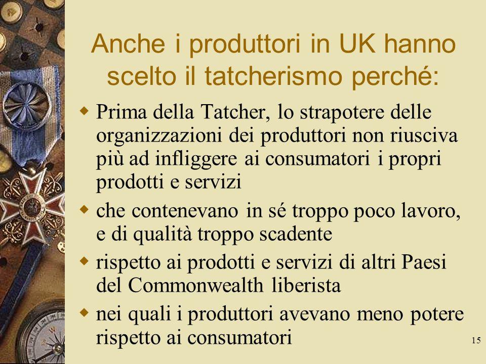 15 Anche i produttori in UK hanno scelto il tatcherismo perché: Prima della Tatcher, lo strapotere delle organizzazioni dei produttori non riusciva più ad infliggere ai consumatori i propri prodotti e servizi che contenevano in sé troppo poco lavoro, e di qualità troppo scadente rispetto ai prodotti e servizi di altri Paesi del Commonwealth liberista nei quali i produttori avevano meno potere rispetto ai consumatori