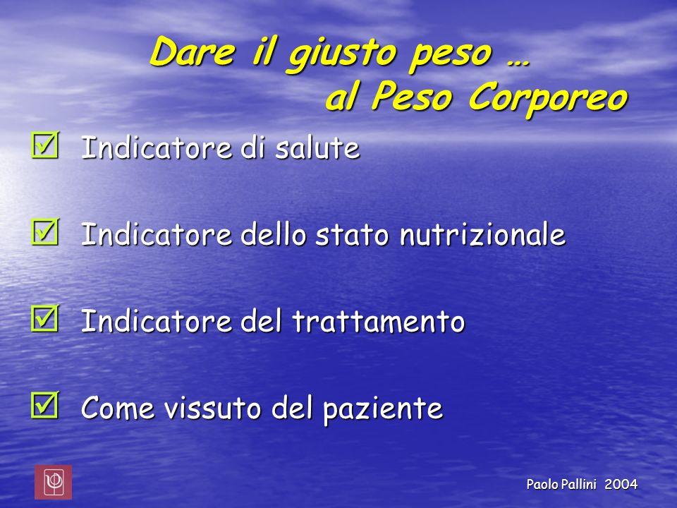 Dare il giusto peso … al Peso Corporeo Indicatore di salute Indicatore di salute Indicatore dello stato nutrizionale Indicatore dello stato nutriziona