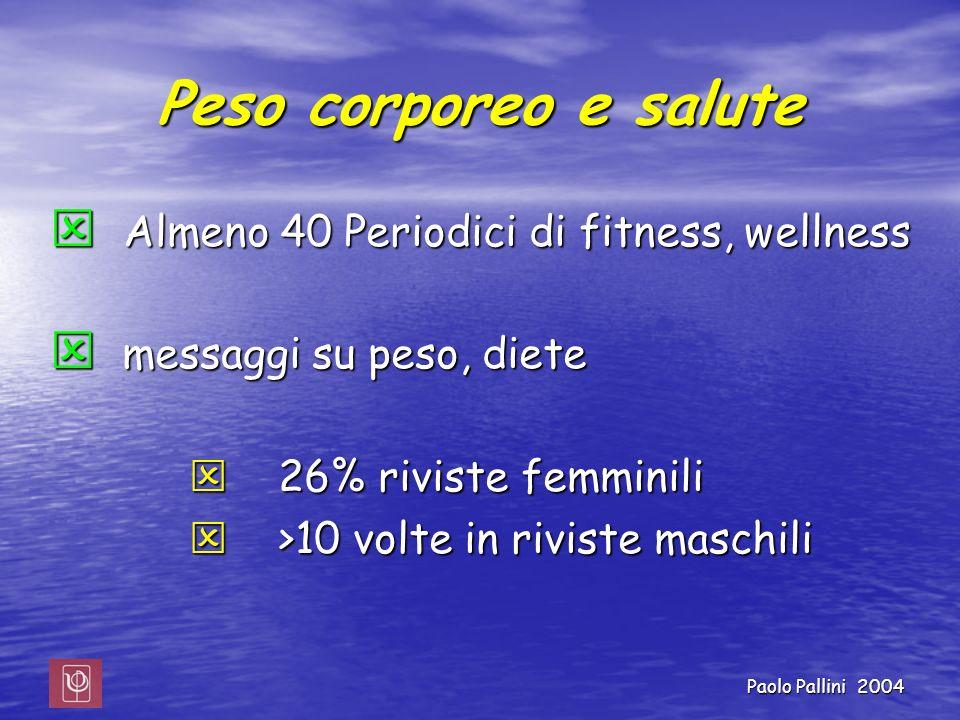 Paolo Pallini 2004 Peso corporeo e salute Almeno 40 Periodici di fitness, wellness Almeno 40 Periodici di fitness, wellness messaggi su peso, diete me
