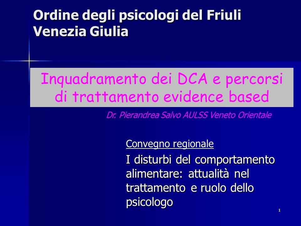 1 Ordine degli psicologi del Friuli Venezia Giulia Convegno regionale I disturbi del comportamento alimentare: attualità nel trattamento e ruolo dello