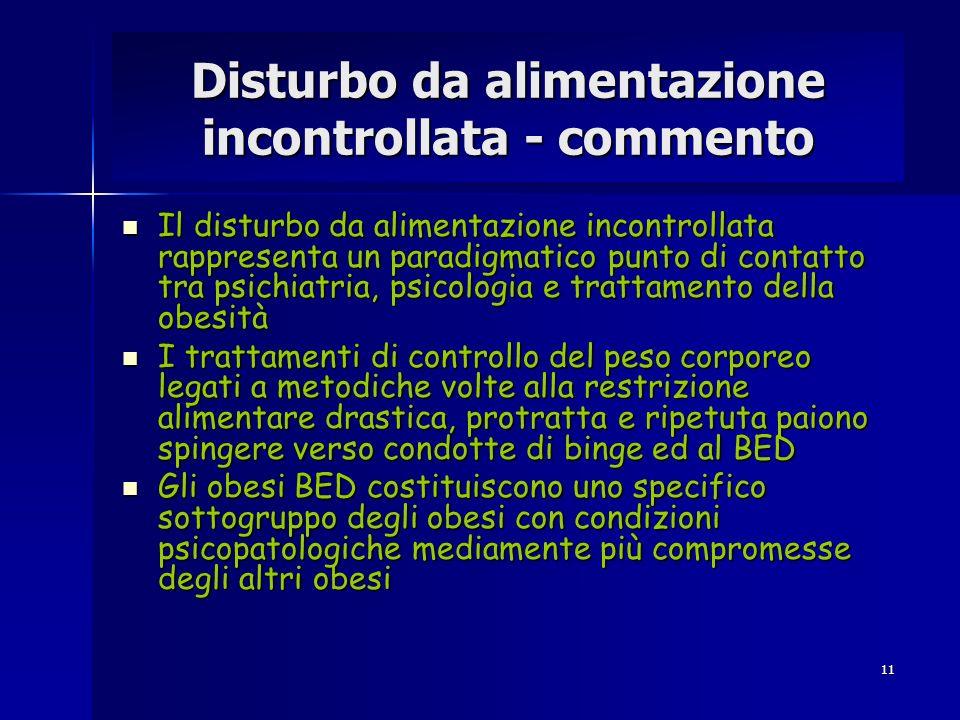 11 Disturbo da alimentazione incontrollata - commento Il disturbo da alimentazione incontrollata rappresenta un paradigmatico punto di contatto tra ps