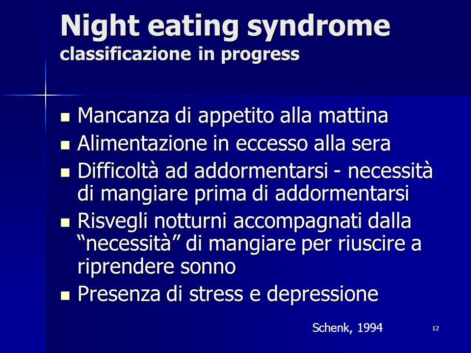 12 Night eating syndrome classificazione in progress Mancanza di appetito alla mattina Mancanza di appetito alla mattina Alimentazione in eccesso alla