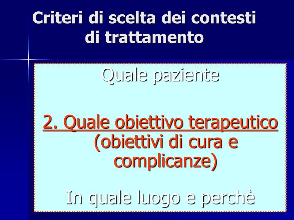 26 Criteri di scelta dei contesti di trattamento Quale paziente 2. Quale obiettivo terapeutico (obiettivi di cura e complicanze) In quale luogo e perc