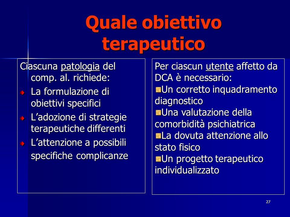 27 Quale obiettivo terapeutico Ciascuna patologia del comp. al. richiede: La formulazione di obiettivi specifici Ladozione di strategie terapeutiche d