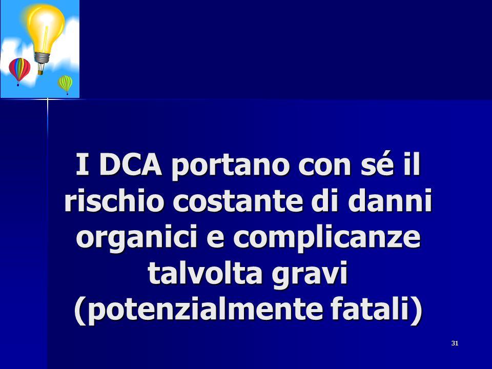 31 I DCA portano con sé il rischio costante di danni organici e complicanze talvolta gravi (potenzialmente fatali)