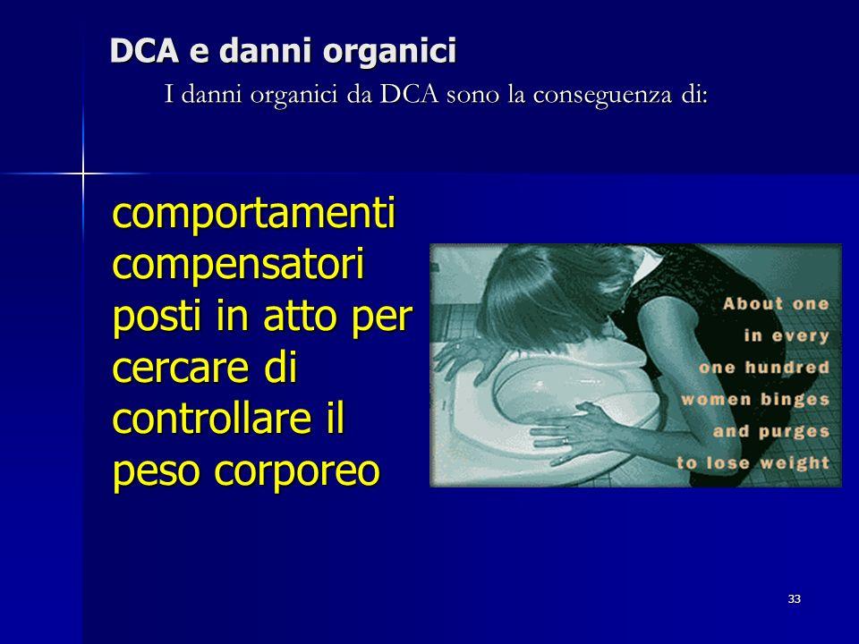 33 DCA e danni organici comportamenti compensatori posti in atto per cercare di controllare il peso corporeo I danni organici da DCA sono la conseguen