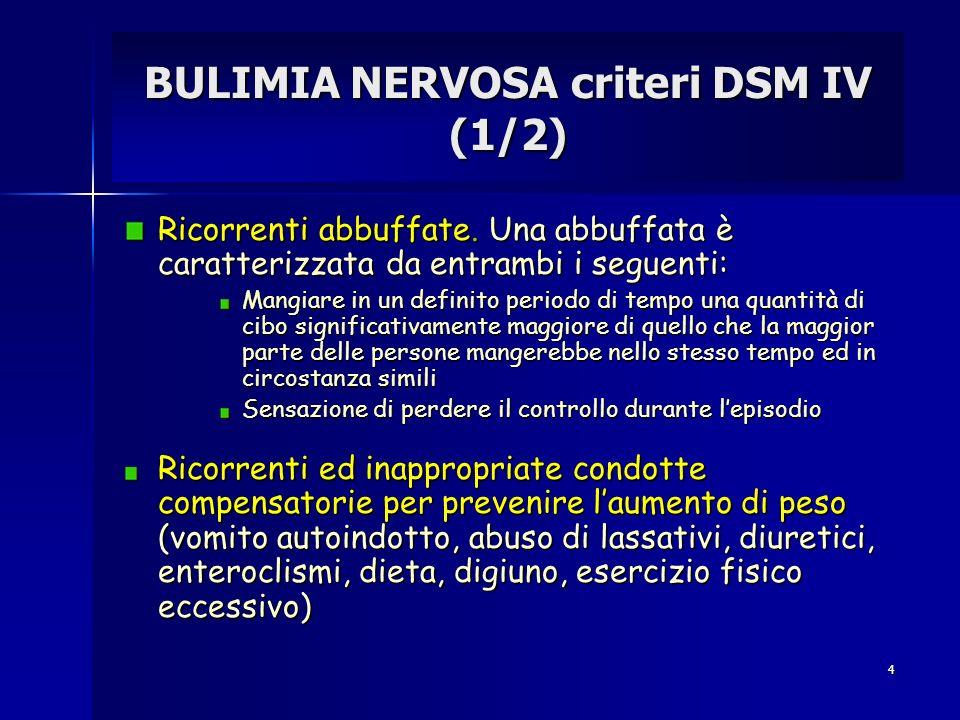 4 BULIMIA NERVOSA criteri DSM IV (1/2) Ricorrenti abbuffate. Una abbuffata è caratterizzata da entrambi i seguenti: Mangiare in un definito periodo di