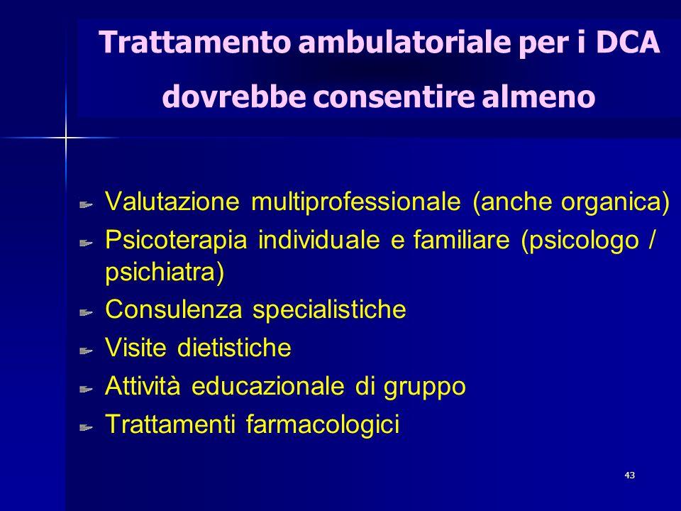 43 Trattamento ambulatoriale per i DCA dovrebbe consentire almeno Valutazione multiprofessionale (anche organica) Psicoterapia individuale e familiare