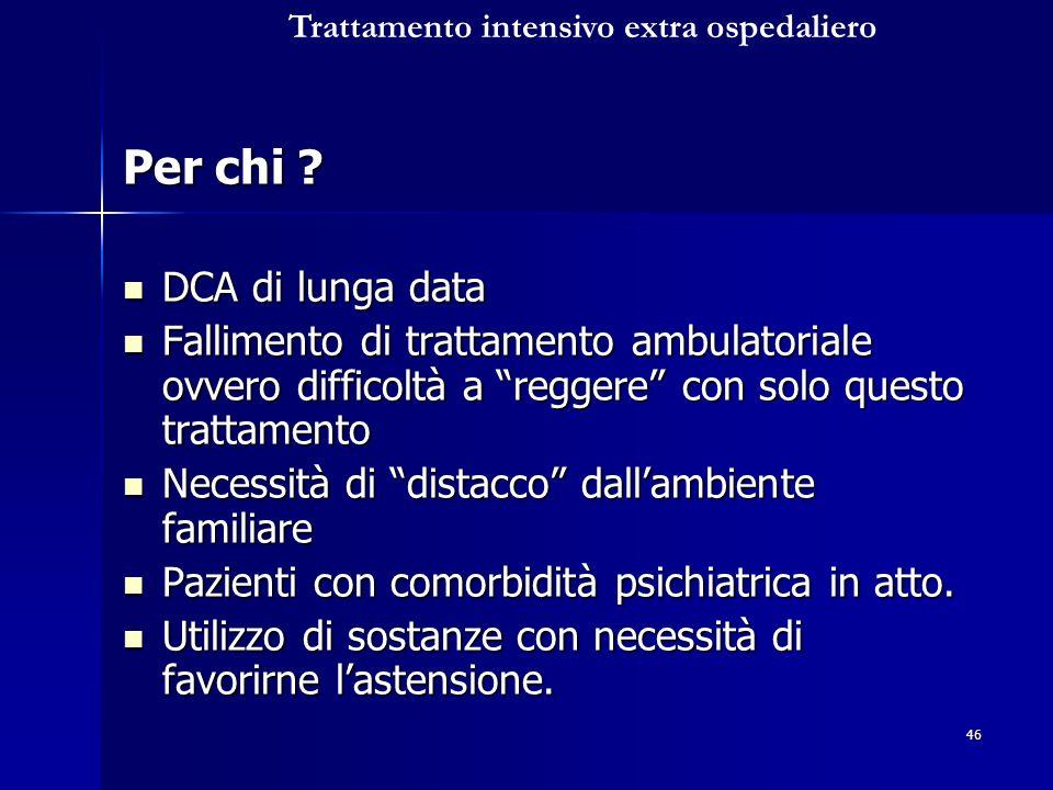 46 Per chi ? DCA di lunga data DCA di lunga data Fallimento di trattamento ambulatoriale ovvero difficoltà a reggere con solo questo trattamento Falli