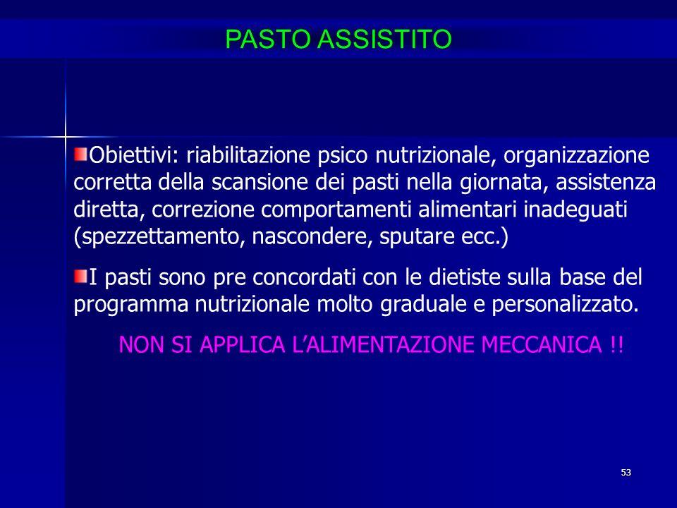 53 Obiettivi: riabilitazione psico nutrizionale, organizzazione corretta della scansione dei pasti nella giornata, assistenza diretta, correzione comp