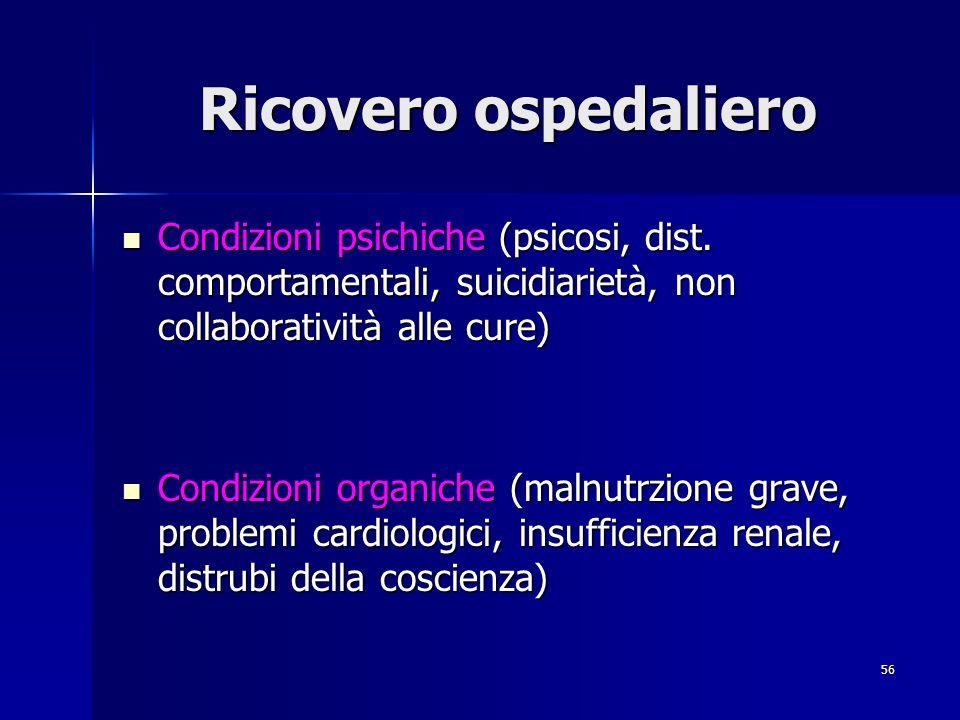 56 Ricovero ospedaliero Condizioni psichiche (psicosi, dist. comportamentali, suicidiarietà, non collaboratività alle cure) Condizioni psichiche (psic