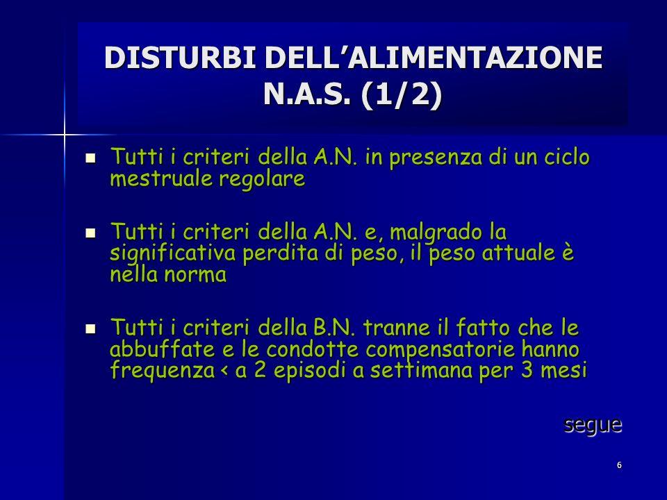 6 DISTURBI DELLALIMENTAZIONE N.A.S. (1/2) Tutti i criteri della A.N. in presenza di un ciclo mestruale regolare Tutti i criteri della A.N. in presenza