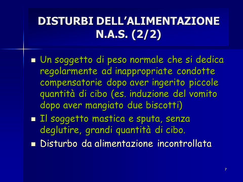 7 DISTURBI DELLALIMENTAZIONE N.A.S. (2/2) Un soggetto di peso normale che si dedica regolarmente ad inappropriate condotte compensatorie dopo aver ing