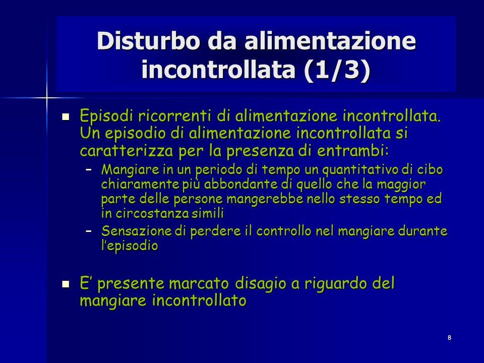 8 Disturbo da alimentazione incontrollata (1/3) Episodi ricorrenti di alimentazione incontrollata. Un episodio di alimentazione incontrollata si carat