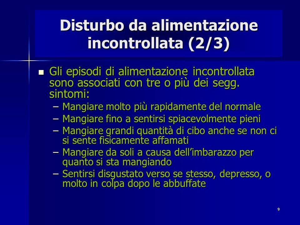 9 Disturbo da alimentazione incontrollata (2/3) Gli episodi di alimentazione incontrollata sono associati con tre o più dei segg. sintomi: Gli episodi