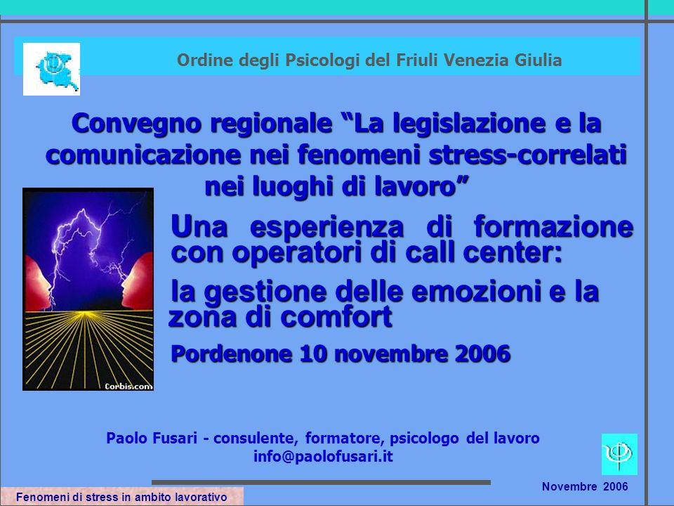 Fenomeni di stress in ambito lavorativo Novembre 2006 Composizione personale nei Call Center nel 1998 nel 2000