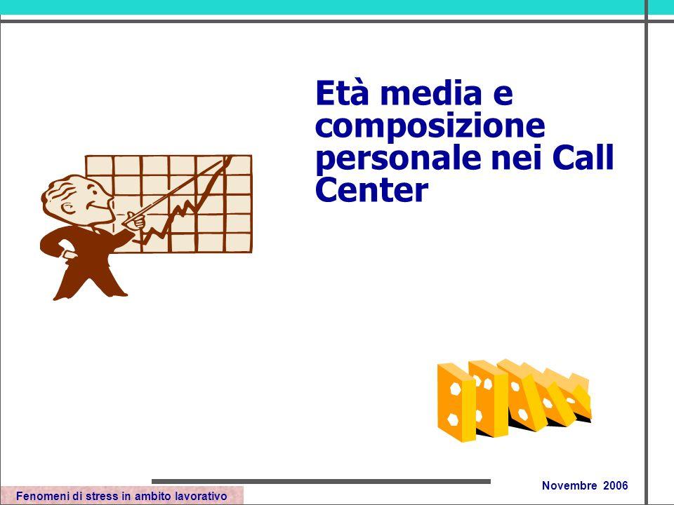 Fenomeni di stress in ambito lavorativo Novembre 2006 Età media e composizione personale nei Call Center