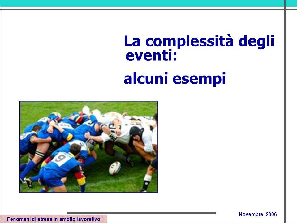 Fenomeni di stress in ambito lavorativo Novembre 2006 La complessità degli eventi: alcuni esempi