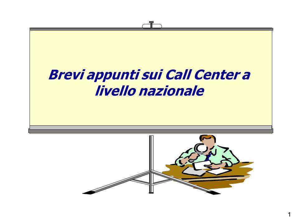 Brevi appunti sui Call Center a livello nazionale 1