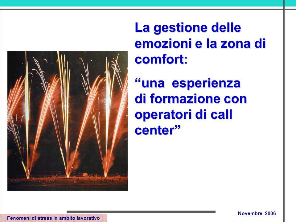 Fenomeni di stress in ambito lavorativo Novembre 2006 La gestione delle emozioni e la zona di comfort: una esperienza di formazione con operatori di call center