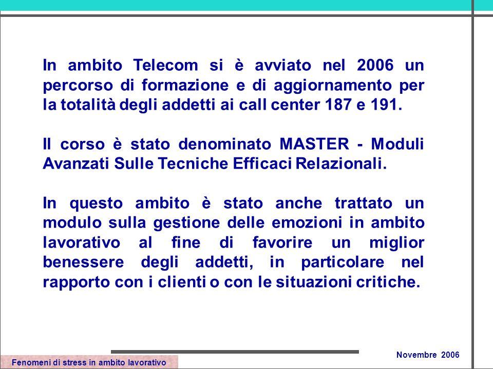 Fenomeni di stress in ambito lavorativo Novembre 2006 In ambito Telecom si è avviato nel 2006 un percorso di formazione e di aggiornamento per la totalità degli addetti ai call center 187 e 191.