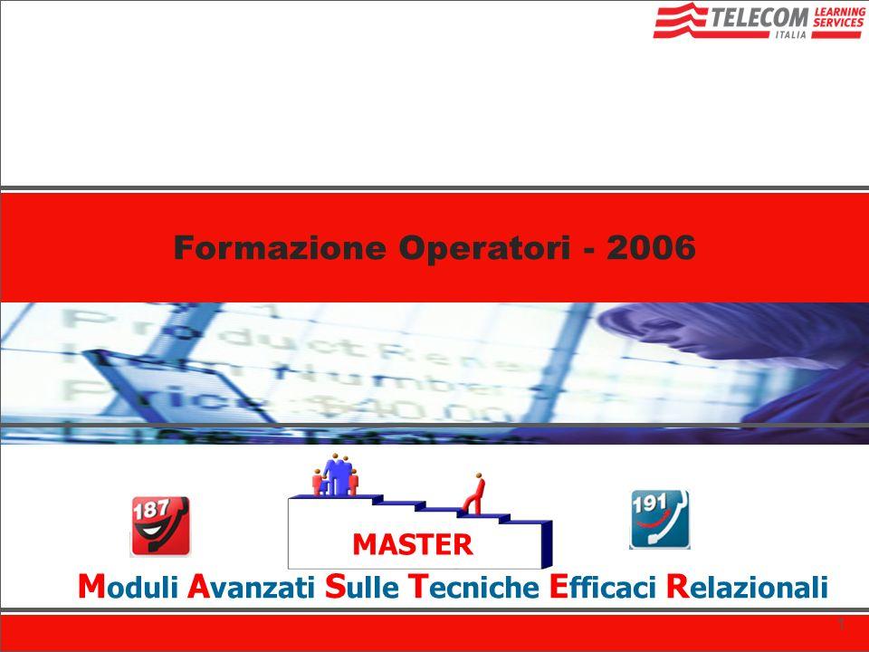 Formazione Operatori COF MASTER M oduli A vanzati S ulle T ecniche E fficaci R elazionali Formazione Operatori COF Formazione Operatori - 2006 1
