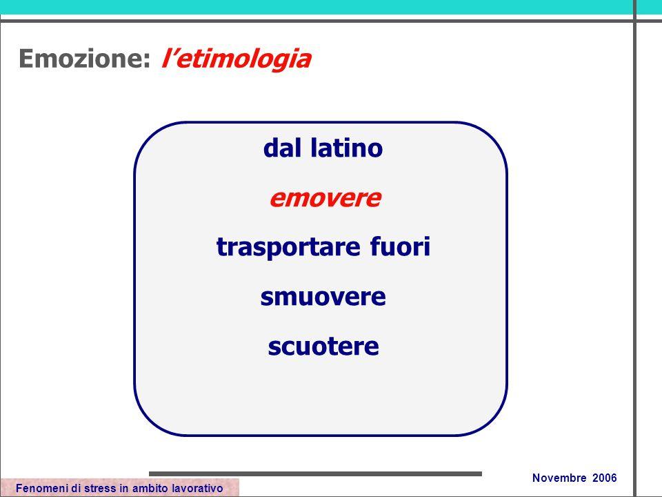 Fenomeni di stress in ambito lavorativo Novembre 2006 dal latino emovere trasportare fuori smuovere scuotere Emozione: letimologia