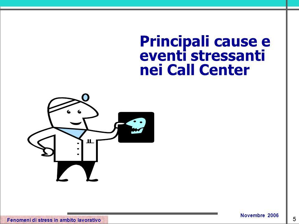 Fenomeni di stress in ambito lavorativo Novembre 2006 Principali cause e eventi stressanti nei Call Center 5