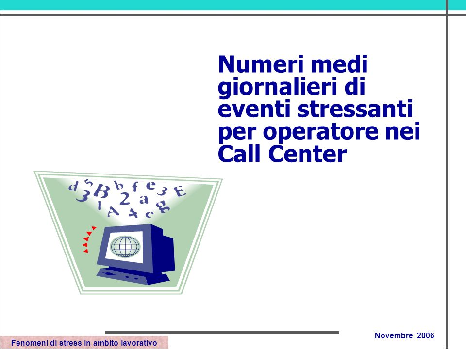 Fenomeni di stress in ambito lavorativo Novembre 2006 Numeri medi giornalieri di eventi stressanti per operatore nei Call Center