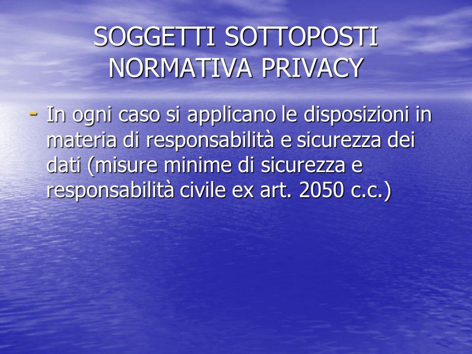 SOGGETTI SOTTOPOSTI NORMATIVA PRIVACY - In ogni caso si applicano le disposizioni in materia di responsabilità e sicurezza dei dati (misure minime di