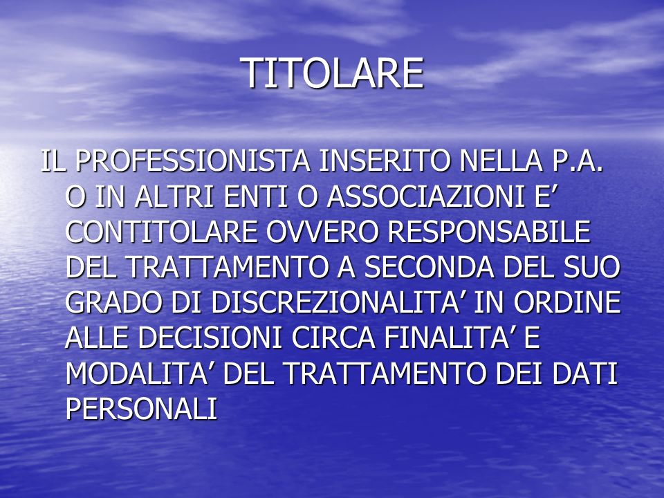 TITOLARE IL PROFESSIONISTA INSERITO NELLA P.A.