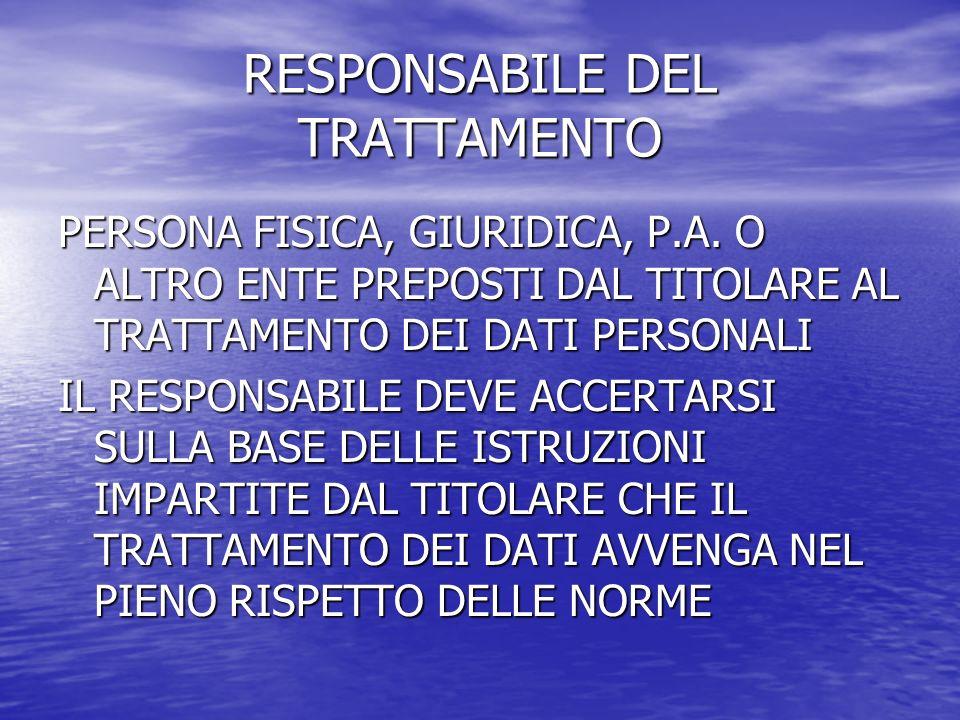 RESPONSABILE DEL TRATTAMENTO PERSONA FISICA, GIURIDICA, P.A. O ALTRO ENTE PREPOSTI DAL TITOLARE AL TRATTAMENTO DEI DATI PERSONALI IL RESPONSABILE DEVE
