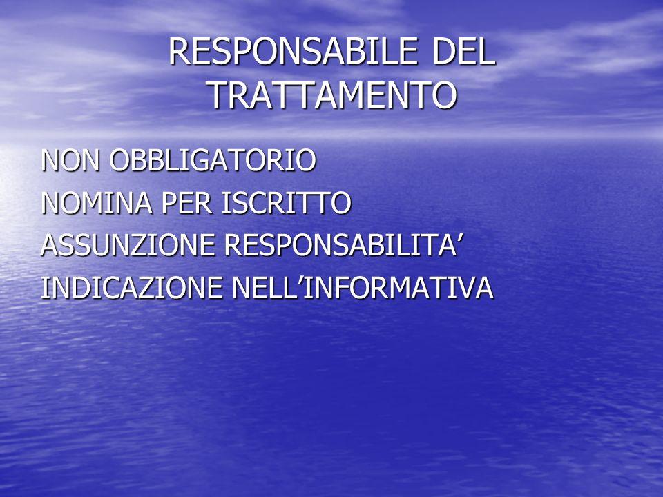 RESPONSABILE DEL TRATTAMENTO NON OBBLIGATORIO NOMINA PER ISCRITTO ASSUNZIONE RESPONSABILITA INDICAZIONE NELLINFORMATIVA