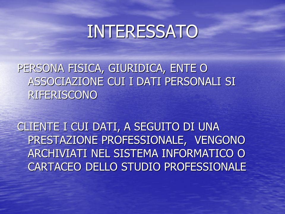 INTERESSATO PERSONA FISICA, GIURIDICA, ENTE O ASSOCIAZIONE CUI I DATI PERSONALI SI RIFERISCONO CLIENTE I CUI DATI, A SEGUITO DI UNA PRESTAZIONE PROFESSIONALE, VENGONO ARCHIVIATI NEL SISTEMA INFORMATICO O CARTACEO DELLO STUDIO PROFESSIONALE