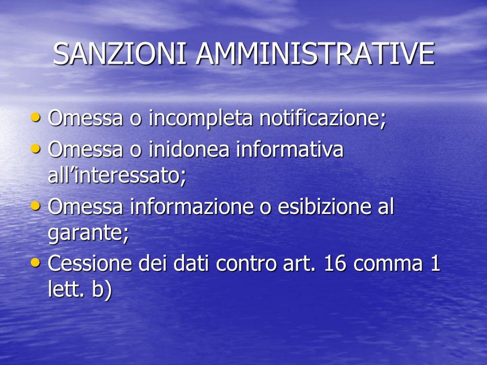 SANZIONI AMMINISTRATIVE Omessa o incompleta notificazione; Omessa o incompleta notificazione; Omessa o inidonea informativa allinteressato; Omessa o i