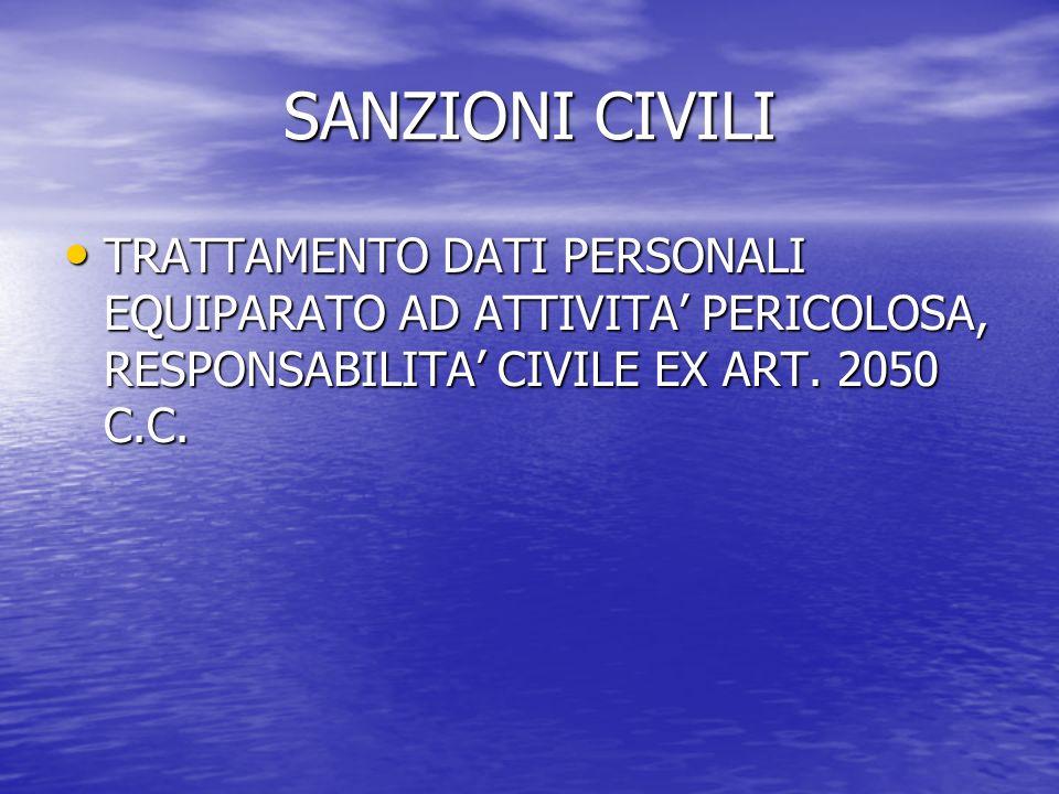 SANZIONI CIVILI TRATTAMENTO DATI PERSONALI EQUIPARATO AD ATTIVITA PERICOLOSA, RESPONSABILITA CIVILE EX ART.