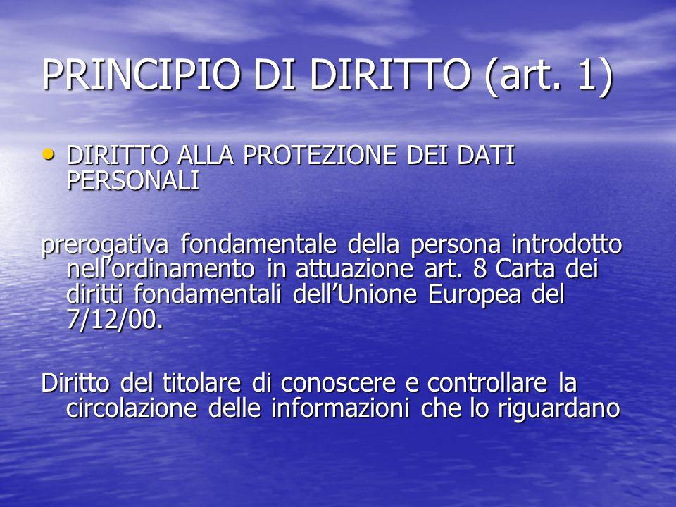 PRINCIPIO DI DIRITTO (art.