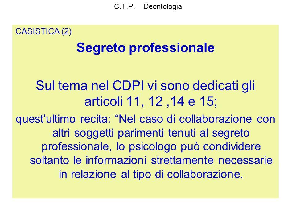 C.T.P. Deontologia CASISTICA (2) Segreto professionale Sul tema nel CDPI vi sono dedicati gli articoli 11, 12,14 e 15; questultimo recita: Nel caso di