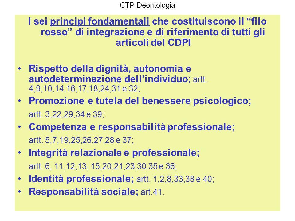 CTP Deontologia I sei principi fondamentali che costituiscono il filo rosso di integrazione e di riferimento di tutti gli articoli del CDPI Rispetto d