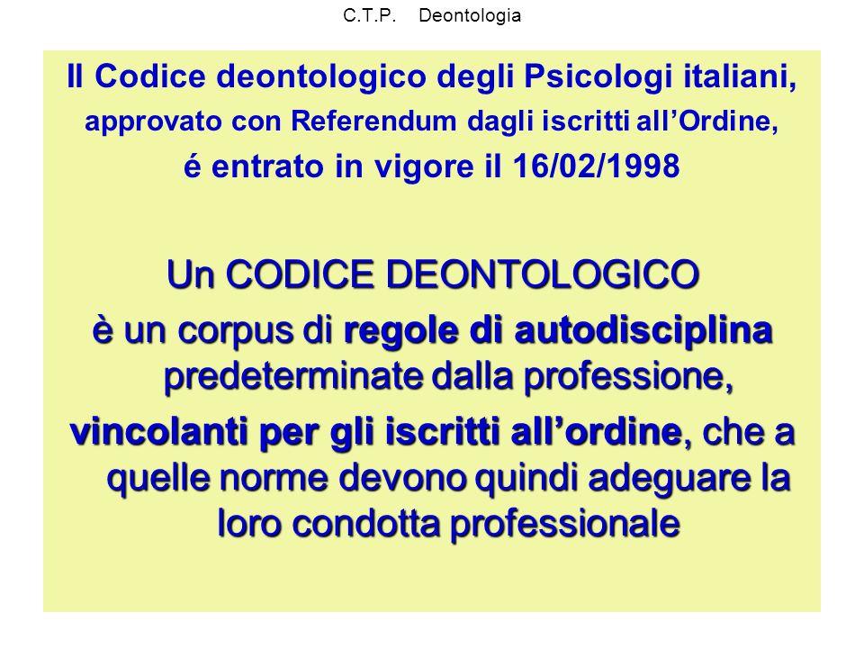 C.T.P. Deontologia Il Codice deontologico degli Psicologi italiani, approvato con Referendum dagli iscritti allOrdine, é entrato in vigore il 16/02/19