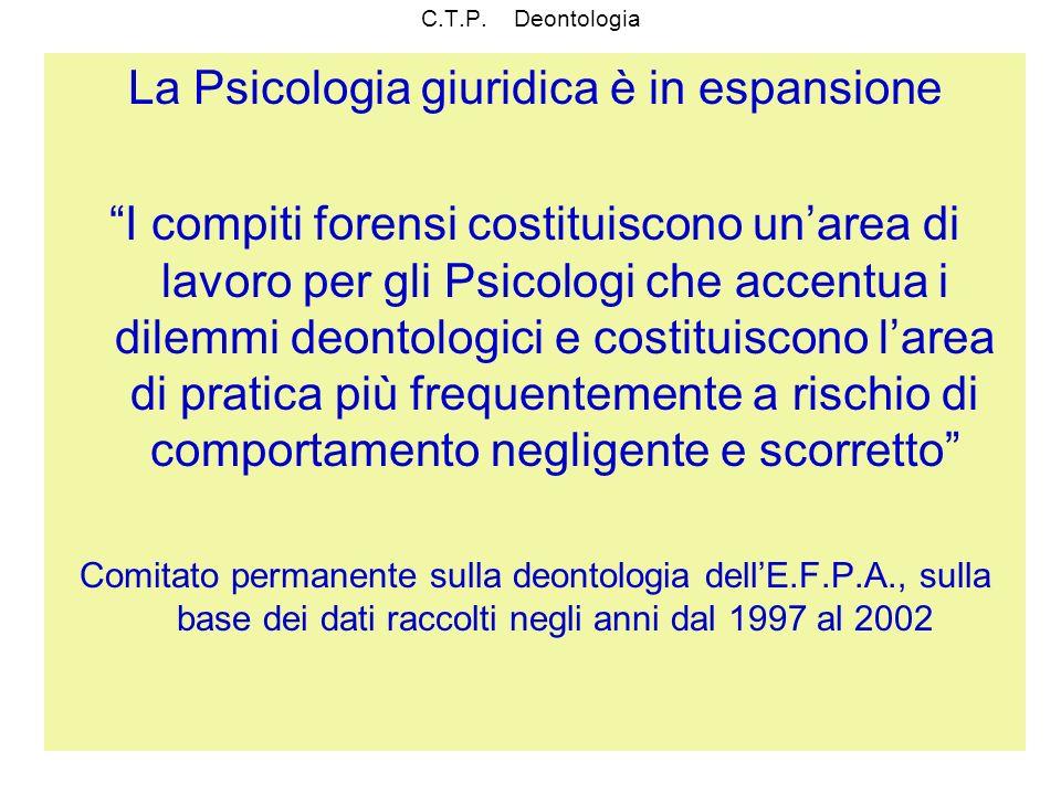 C.T.P. Deontologia La Psicologia giuridica è in espansione I compiti forensi costituiscono unarea di lavoro per gli Psicologi che accentua i dilemmi d