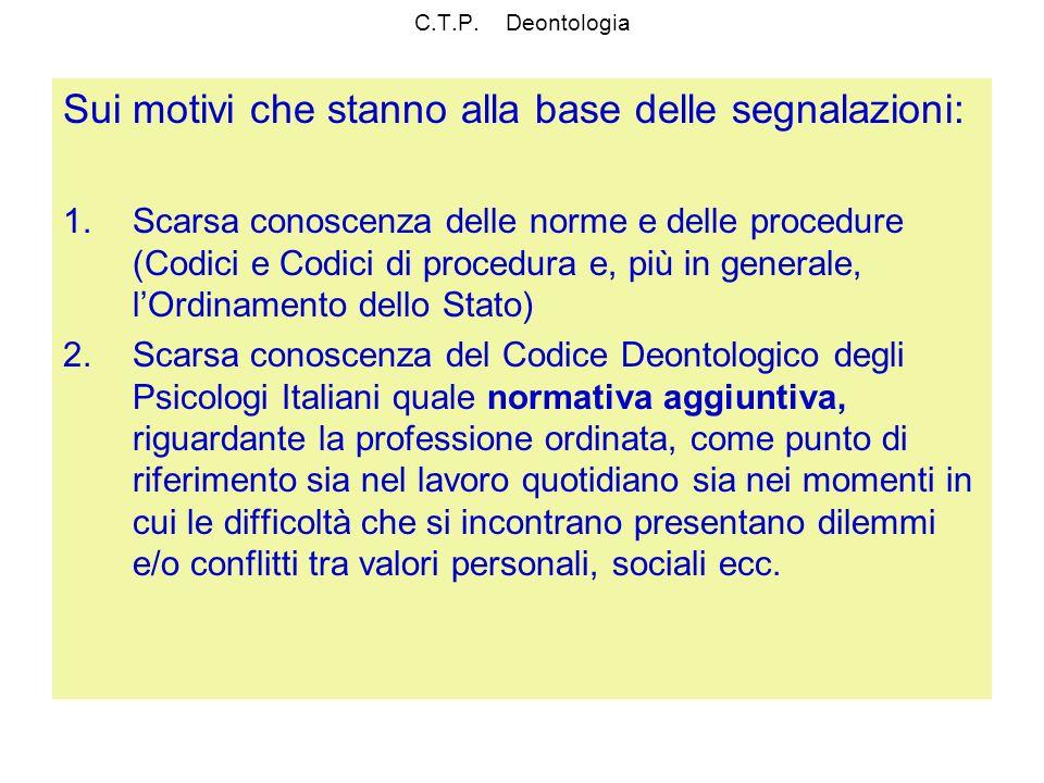 C.T.P. Deontologia Sui motivi che stanno alla base delle segnalazioni: 1.Scarsa conoscenza delle norme e delle procedure (Codici e Codici di procedura