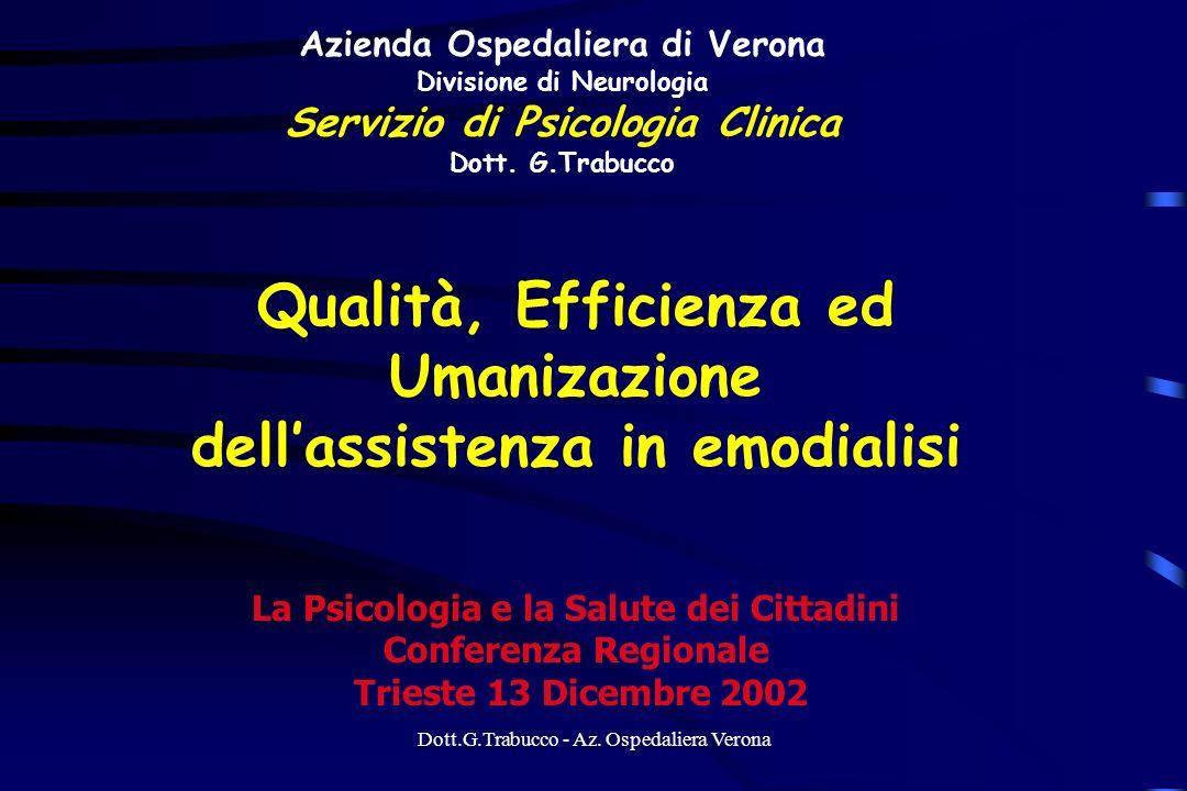 Dott.G.Trabucco - Az. Ospedaliera Verona Azienda Ospedaliera di Verona Divisione di Neurologia Servizio di Psicologia Clinica Dott. G.Trabucco Qualità